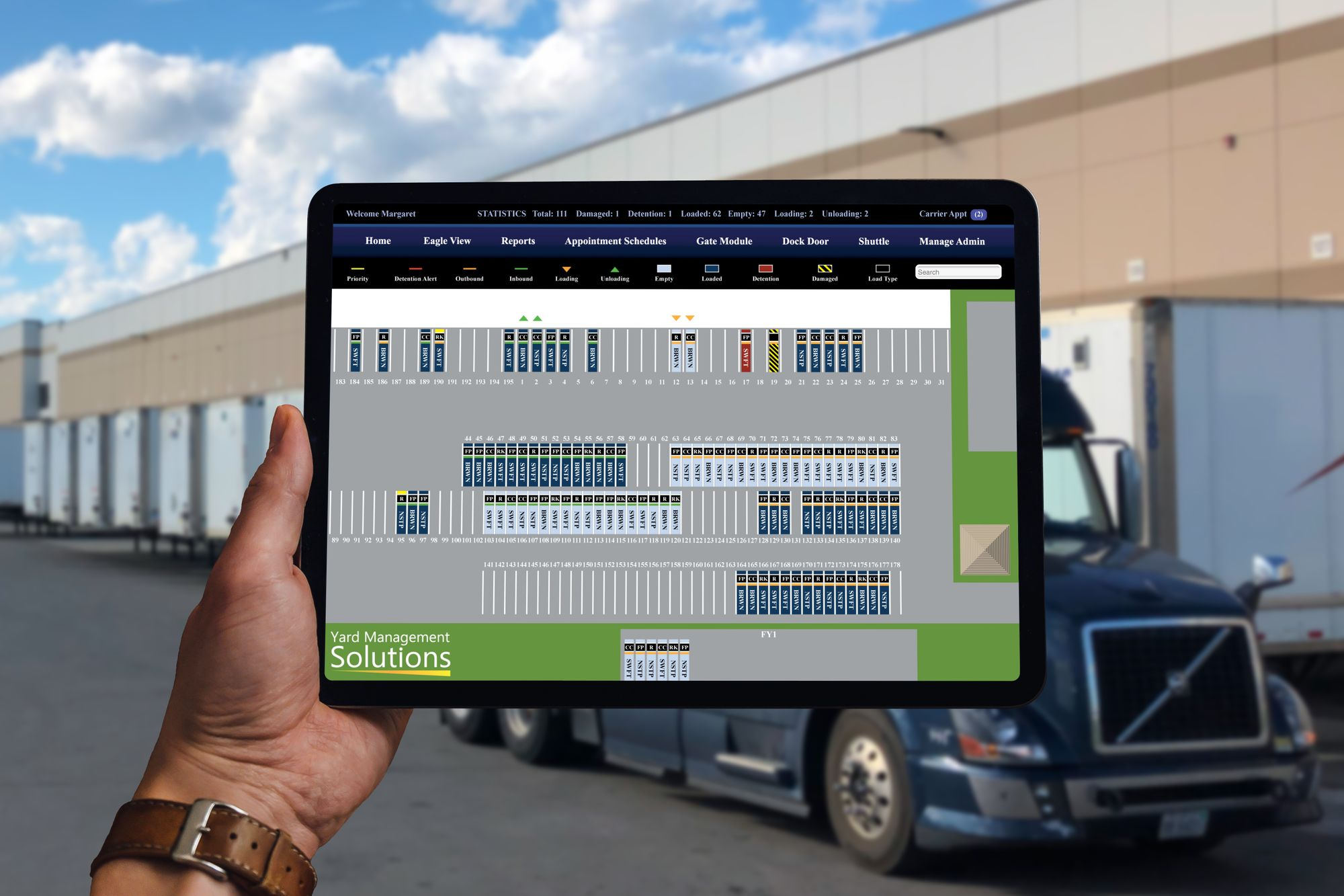 Yard Management Solutions software running on tablet in shipping yard